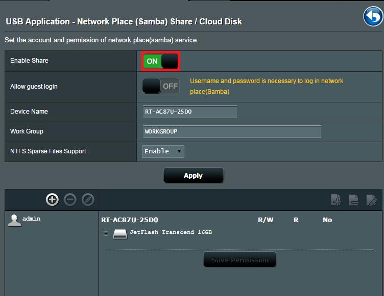 [USB 应用] 如何设定服务器中心- 网络芳邻共享 (Samba) / 云端数据