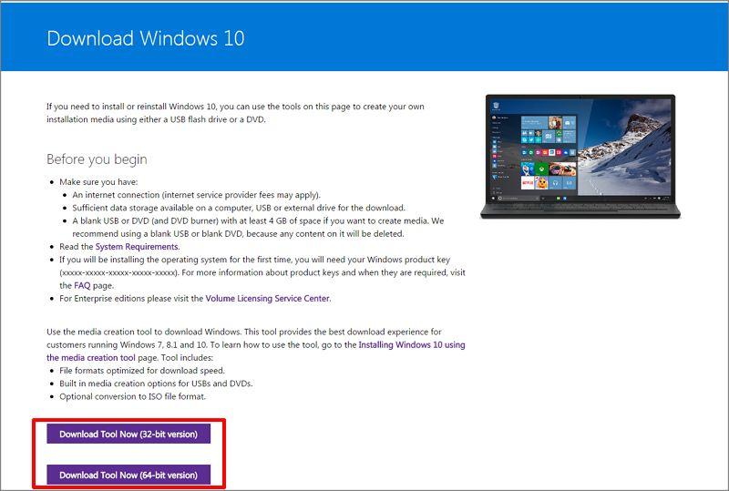 Windows 10 - 如何通过U 盘或 DVD 介质创建工具升级操作系统到Windows 10?