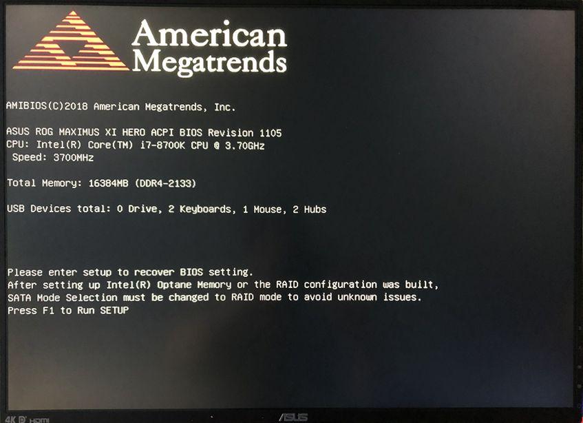 开机提示Please enter setup to recover BIOS setting,按F1 run setup?