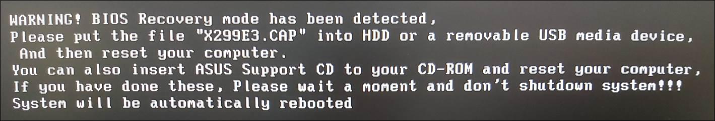[主板] Troubleshooting-当显示WARNING! BIOS Recovery mode has been detected讯息,无法正常开机的处理方式